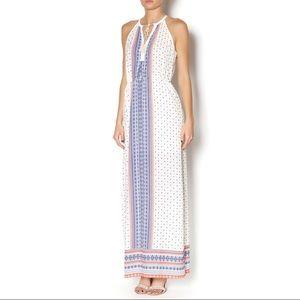 Lush Cream Blue Orange Paisley Lined Maxi Dress